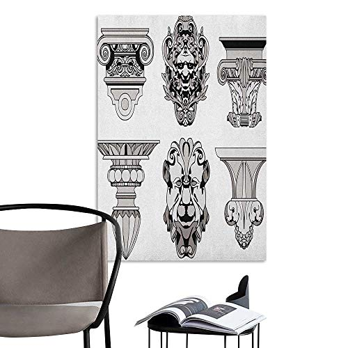 Jaydevn Stickers Wall Murals Decals Removable Toga Party Roman Architecture Theme with Sphinx Lion and Column Antique Design Pale Grey and Black Stair Elevator Side W20 x -