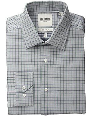 Men's Slim Fit Twill Check Spread Collar Dress Shirt