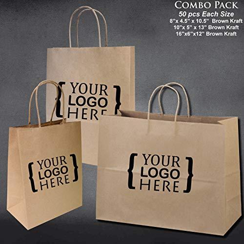 "8""x4.75""x10""-10""x5""x13""-16""x6""x12"" - 50 Pcs Each - Custom Printed Bagsource Brown Kraft Paper Bags 95% Post Consumer Materials & FSC Certified ... (Custom Printed)"