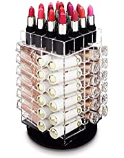 Rotating Lipstick Rack, Acrylic Lipstick Holder Lipstick Storage 64 Lipstick Tower Organizer Spinning Lipstick Tower Lipgloss Holder with Removable Dividers