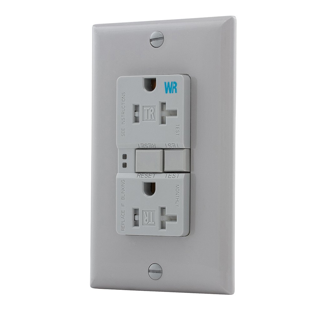 125V Tamper /& Weather Resistant Duplex Receptacle with Standard Size Wallplate Gray Eaton GFCI Self-Test 20A