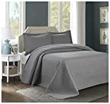 HIG 3 Piece TINOS Ultrasonic Embossed Bedspread Set-Oversized Coverlet 100x106in, 118x106in (Queen, Gray)