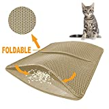 Lovinouse Cat Litter Mat - Large 46 x 26 Inch - Foldable Litter Trapping Mat with Leather Border - Waterproof and Urine Proof - Honeycomb Double Layer Trapper for Litter Box - Scatter Control