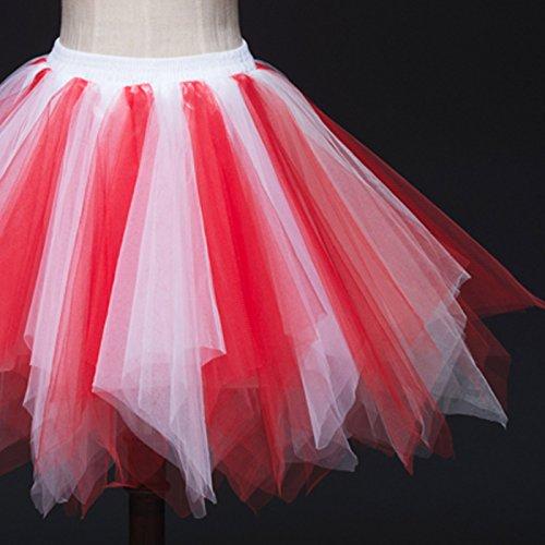 Feoya Mujer Falda Enaguas Corta Tul Plisada Fiesta Vintage Retro Ballet Princesas Tutú Blanco + Rojo