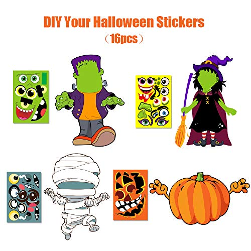 Make Your Own Jack-O-Lantern,Mummy,Witch,Monster Hunt Craft Stickers Kids Halloween Decorations ()