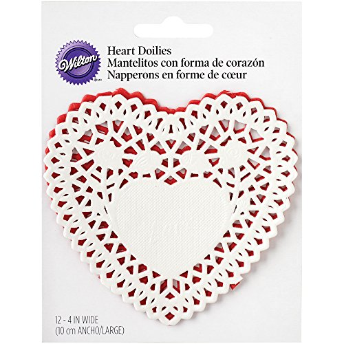 Wilton Paper Doilies, 4-Inch, Red and White Heart, 12-Pack