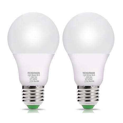 2 x LED Sensor Bombilla tgmold 6W E27 500LM Dusk Till Dawn con función automática de