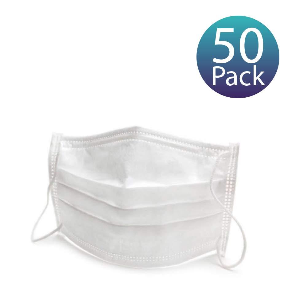 [50 Pack] Mascarillas Desechables Quirúrgicas. Mascarillas con 3 Pliegues y Gomas para las Orejas. 1 caja de 50 Mascarillas Desechables.