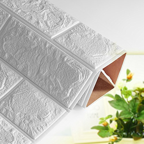 Laylala 10PCS 3D Brick Wall Stickers PE Foam Self-adhesive Wallpaper Peel and Stick 3D Art Wall Panels for Living Room Bedroom Background Wall Decoration(White) (PE, 69×77)