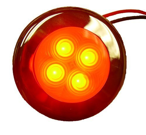 Aqua Signal 4-led Schwerpunkt and Courtesy Light with Stainless Steel Cover, ROT by Aqua Signal