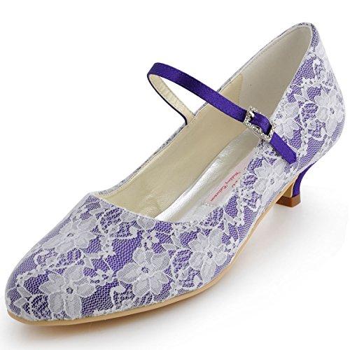 Elegantpark 100120 Femme Mary Jane Bout fermé Bas Talon de Chaton Escarpins Boucle Dentelle Chaussures de Mariée de Mariage Violet