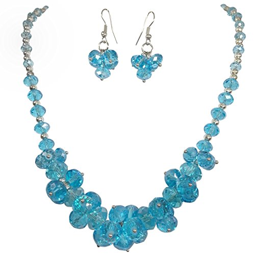 Jewel Tone Necklace Set (Glass Cluster Beads Silver Tone Statement Necklace & Dangle Earrings Set (Aqua Blue))