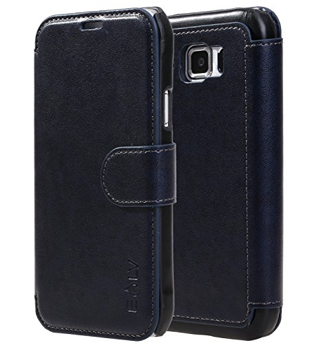 E LV Case for Galaxy S6 Active - Slim Case Cover PU Leather Flip Folio Wallet Case Cover for Samsung Galaxy S6 Active - Dark Blue/Black