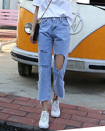 Haute Jeans Taille Bleu Trous Crayon Dchirs Clair Grand Droit Pantalons Denim Pantalon en QitunC Femme Pantalon Slim tAIUw5qgxH