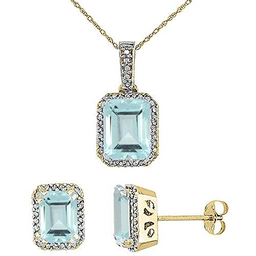 Or jaune 9Ct naturel octogone aigue-marine Boucles d'oreilles et pendentif Set Accents de diamant