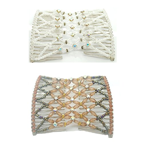 casualfashion-2-pcs-nobby-womens-white-and-coffee-beaded-hair-combs-eye-catching-crystal-hair-clips
