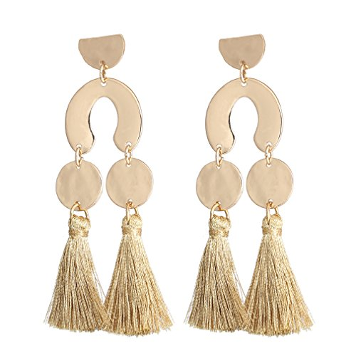 (HSWE Tassel Earrings Hammered Coin Dangle Ear Drop Geometric Design Top Gold)