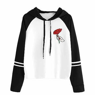 Bekleidung Loveso Kapuzenpullover Herbst Winter Kleidung Rosenmuster  Schwarz und Weiß Stitching Farbe Damen Hoodie Kapuze Pullover Casual Sport  Sweatshirt ... 17a3ae50d0
