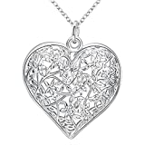 Greendou Fashion Jewelry 925 Sterling Silver Hollow Pattern Textured Puffed Heart Pendant Necklace