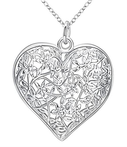 - Greendou Fashion Jewelry 925 Sterling Silver Hollow Pattern Textured Puffed Heart Pendant Necklace