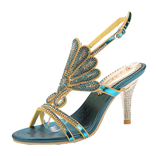 Win8Fong - Sandalias de vestir para mujer Azul azul Azul