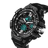 Kids Watches Outdoor Sports Children Watch Stopwatch Quartz Watch Boy Girls LED Digital Alarm Wristwatch Black