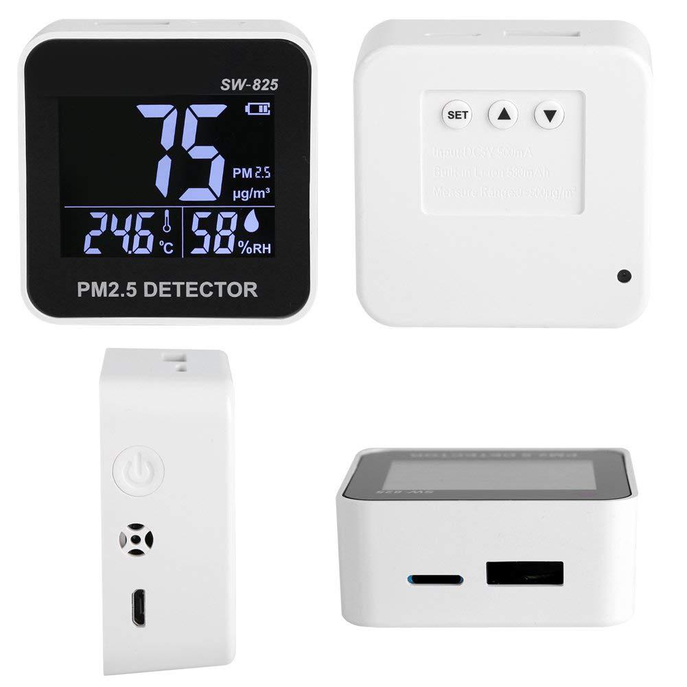 Au/ßen B/üro Bewinner Air Quality Meter SW-825 PM2.5 Detektor Messger/ät Digitaler LED Luftqualit/ätsmonitor PM2.5 Detektor Temperatur Luftfeuchtigkeitsmessger/ät f/ür Heim Auto