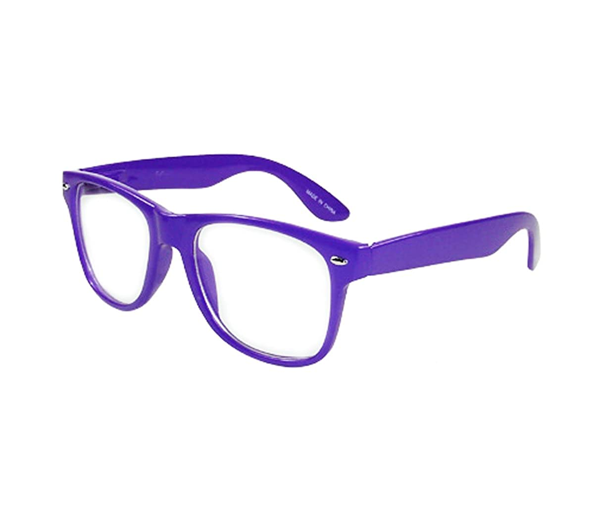 New Glossy Purple Retro Classic Nerd Glasses Clear Lens Optical Quality MJ-8841C-purple