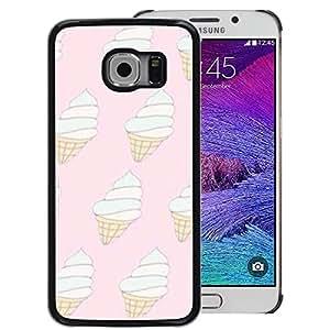 A-type Arte & diseño plástico duro Fundas Cover Cubre Hard Case Cover para Samsung Galaxy S6 EDGE (NOT S6) (Ice Cream Pink White Cone Vanilla Summer)