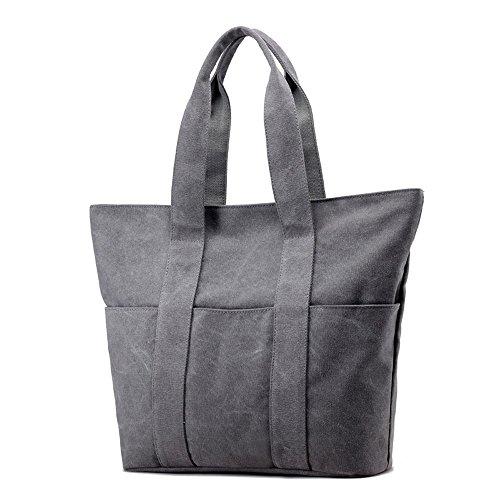 Riavika Canvas Tote Bag Handbag for Women-Grey