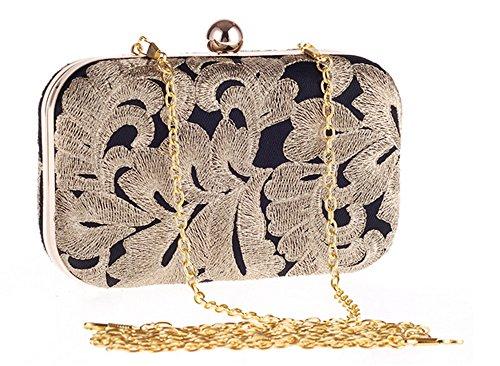 Dinner Black Wallet Vitnage Embroidery Gold case Clutch Evening Bag Hard Leaf Prom Party qqvSB46