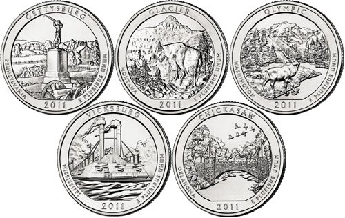 2011 D National Parks Set (5 Coins) Uncirculated