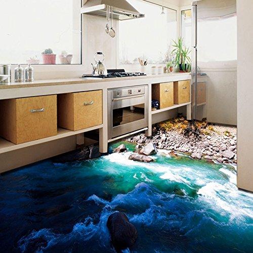 LHDLily Custom 3D Outdoor Landscape Floor Stickers Self-Adhesive Home Decoration Bedroom Bathroom Flooring Wallpaper Mural ()