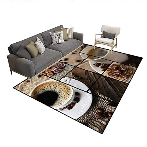 (Carpet,Coffee Themed Collage Close Up Mugs Beans on Wooden Table Aromatic Roasted Espresso Drink,Area Silky Smooth Rugs,Brownsize:5'x6')