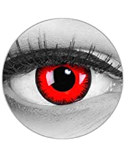Funnylens Kolorowe soczewki kontaktowe Red Lunatic czerwone z czarną krawędzią miękkie bez grubości opakowanie 2 szt. + gratis pojemnik – 12 miesięcy – idealne na Halloween, karnawał lub noc w fazie