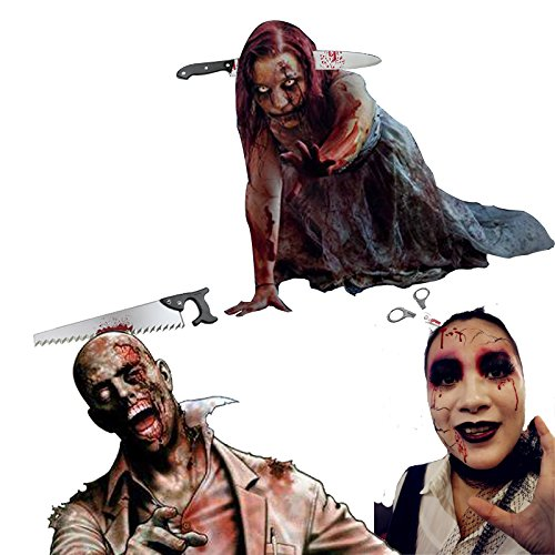 UVEEFUN Halloween Horror Hair Bands Zomie Costume Blood Headbands Accessories Party Decorations Funny Props Through Head Headband Props Sharp Knife Saw Scissors - 3 Pack ()