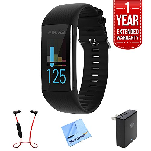 Polar A370 Fitness Tracker w/ 24/7 Wrist Based HR, Black (90064907) + 1 Year Extended Warranty + Fusion Bluetooth Headphones + Micro Fiber Cloth + Universal Travel Wall Charger