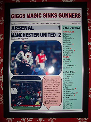 Sports Prints UK Arsenal 1 Manchester United 2-1999 FA Cup semi-Final - Framed Print (Ryan United Manchester Giggs)