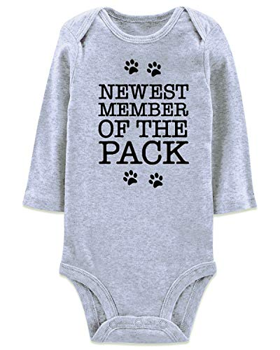 Baby Announcement Gray One-Piece Romper Newest Member of The Pack Take Home Outfit Casual Bulk Daily Wear for Baby Girls Boys Shower, 1 Year