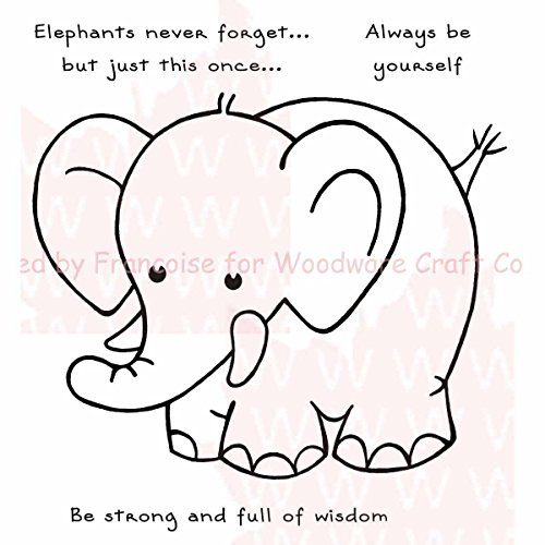 Woodware Craft Collection Elephants Never Forget Stamps Sheet, 3.5
