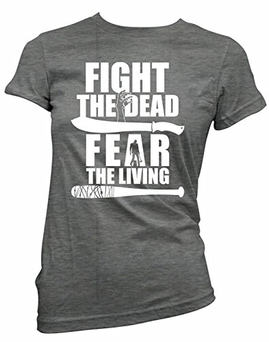 Brain Juice Tees Fight The Dead Fear The Living Walking Dead Womens Junior Fit Shirt (XX-Large, Charcoal)