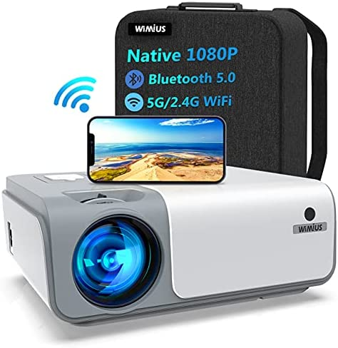 WiMiUS W1 WiFi Bluetooth Projector 8500L Full HD, Native 1080P, Smooth 5G Wireless iPhone Projector for Home and Outdoor Movies, Support Zoom 50% 4D ±50° Keystone for iOS Android Fire TV Stick PC PPT