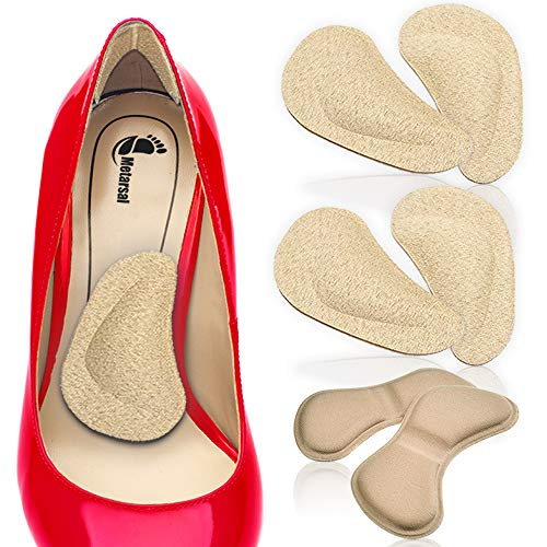 (Metarsal Arch Support Cushions and Shoe Heels Grips-2-in-1 Strong Sticky Heels Cushion Pads and Arch Support for Feet-Versatile Function for Feet-Pack of Two (4))