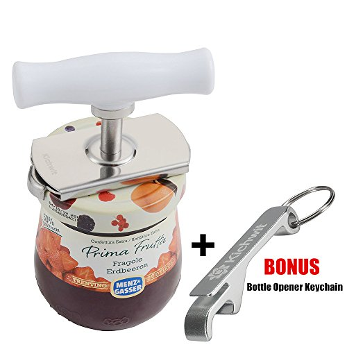 Kichwit Arthritis Jar Opener Stainless Steel Lids Off Jar Opener - Free Bottle Opener Keychain Included