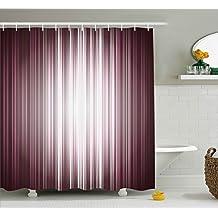Digital Shower Curtain by Ambesonne, Futuristic Computer Art Stripe Flashlight Rays Unusual Futuristic Illustration, Fabric Bathroom Decor Set with Hooks, 70 Inches, Plum Mauve Silver