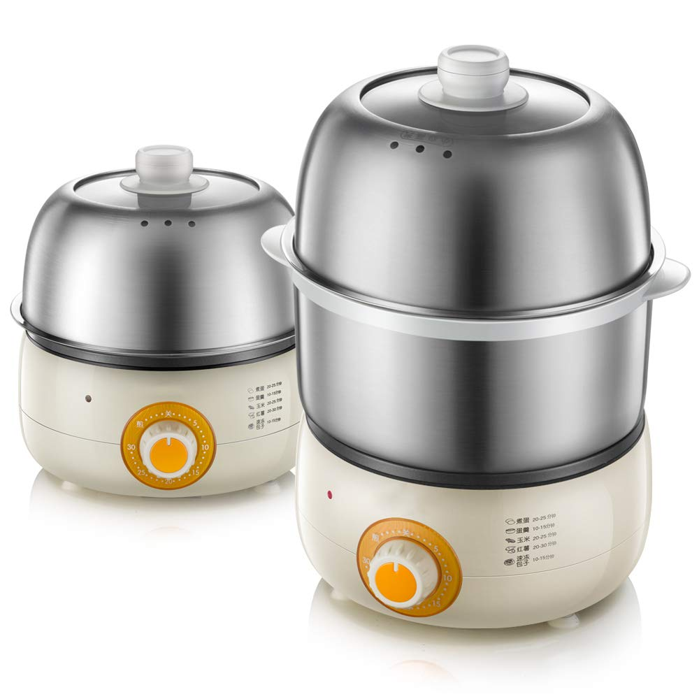 FAY Electric Cooker Boiler,Double Stainless Steel Egg Pot Steamer Breakfast Machine with Timer Automatic Power Off High Capacity -7 Eggs