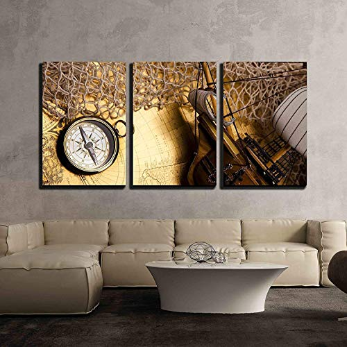 (wall26 - 3 Piece Canvas Wall Art - Antique Brass Compass Over Old Map - Modern Home Decor Stretched and Framed Ready to Hang - 24