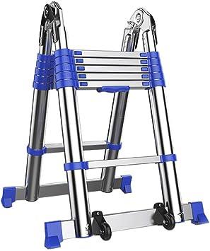 LADDER Escaleras Telescópicas, Escalera Telescópica Portátil de Aluminio, 5/6/7 Pasos Escalera Telescópica Profesional Multipropósito para Loft de Ingeniería, Capacidad de 330 lb,1,65 m / 5.4ft: Amazon.es: Bricolaje y herramientas