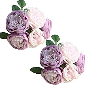 TRvancat Artificial Flowers - 2 Pack Silk Peony Flowers Bouquet 10 Heads Fake Flowers for Wedding Home Decoration(Purple) 85