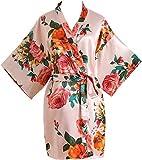 Luxurysmart Peony Floral Silk Kimono Robe Bridal Bridesmaid Robes Dressing Gown for Women